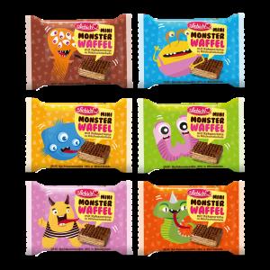 Liebich Mini Monster Waffel Snack Kinder mit Kakaocreme in Milchschokolade