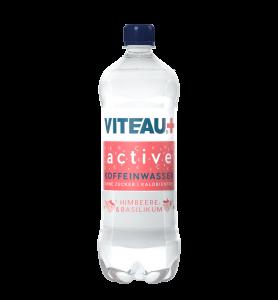 Viteau active functional Water, Wasser mit Koffein ohne Zucker, kalorienfrei in Himbeer und Basilikum Geschmack